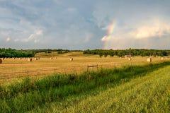 Regenbogen über einem Heufeld Stockfotografie