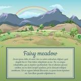 Regenbogen über Feld und Berge und Raum für Text lizenzfreie abbildung