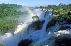 Regenbogen über Iguazu-Wasserfällen in Parque Nacional Iguazu angesehen vom oberen Stromkreis, von der Grenze von Brasilien und v Lizenzfreie Stockfotografie
