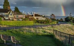 Regenbogen über Seattle und Puget Sound Stockbilder