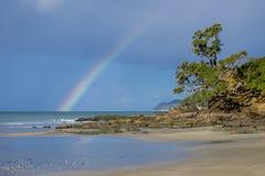 Regenbogen über Waipu-Bucht mit Pohutakawa Stockbild