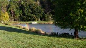 Regenbogen über einem kleinen Teich Stockfoto