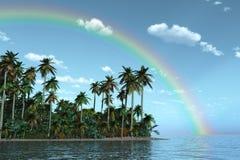 Regenbogen über tropischer Insel Stockfotografie