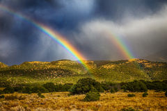 Regenbogen über Wald Stockfotos