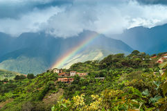 Regenbogen in Coroico Stockfotografie