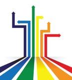 Regenbogen farbige Pfeillinie Perspektivenhintergrund Stockfotografie