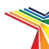 Regenbogen farbige Pfeillinie Perspektivenhintergrund Stockbild
