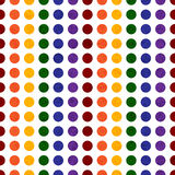Regenbogen farbige Polka Dot Textured Fabric Background Stockfoto