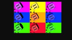 Regenbogen-Farbwürfel, Wiedergabe 3D auf Schwarzem stockbilder