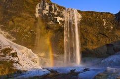 Regenbogen fing im Nebel und im Abendlicht, Seljalandsfoss-Wasserfall, Island Stockbild