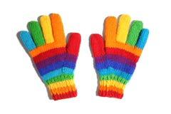 Regenbogen-Handschuhe Stockfoto