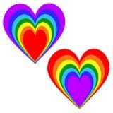 Regenbogen-Herz in aufgehobenen Farben Stockfotos