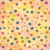 Regenbogen-Herz-Wasserfarbtapete Stockbild