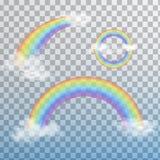 Regenbogen im realistischen Satz der unterschiedlichen Form auf transparentem Hintergrund? Stockfotos
