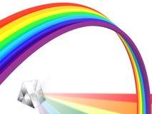 Regenbogen mit einem Prisma Stockbild