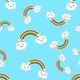 Regenbogen mit Gefühl bewölkt nahtlose Musterhintergrundikone BU stock abbildung