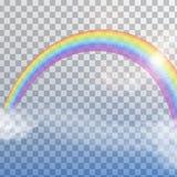 Regenbogen mit Wolken auf transparentem Hintergrund Stockfotografie