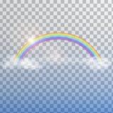 Regenbogen mit Wolken auf transparentem Hintergrund Stockbilder