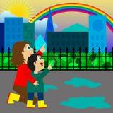 Regenbogen nach dem Regen Stockfoto