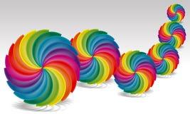 Regenbogen-Palette spann in einen Kreis auf Weiß Lizenzfreies Stockfoto