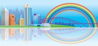 Regenbogen-Stadt lizenzfreie abbildung