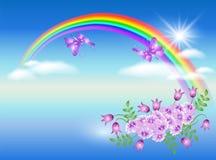 Regenbogen und Blumen stock abbildung