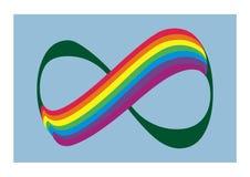 Regenbogen und Nr. 8, symbolisiert Unendlichkeit, Vektorlogo Lizenzfreie Stockfotos