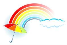 Regenbogen und Regenschirm Stockfotos