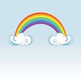 Regenbogen und regnende Wolken auf Farbhintergrund Nettes Wolkenplakatdesign für Babyraumdekor, Kinderstoffdekoration Stockfotografie