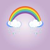 Regenbogen und regnende Wolken auf Farbhintergrund Nettes Wolkenplakatdesign für Babyraumdekor, Kinderstoffdekoration Lizenzfreies Stockbild