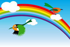 Regenbogen und Vogel Stockfotos
