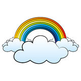 Regenbogen und Wolken auf weißem Hintergrund Stockbild