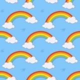 Regenbogen-und Wolken-nahtloses Muster lizenzfreie abbildung