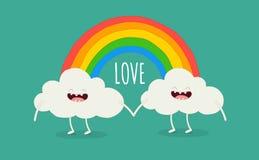 Regenbogen unter den Wolken Stockfotos