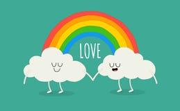 Regenbogen unter den Wolken Stockbild