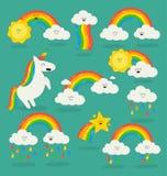 Regenbogen unter den Wolken und dem Einhorn Stockfotografie