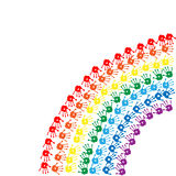 Regenbogen von Drucken der Kinder Hand Stockfotografie