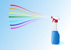 Regenbogen von einer Flasche mit einem Spray Stockfotos