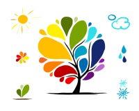 Regenbogenbaum mit Wetter unterzeichnet für Ihr Design Stockfotos