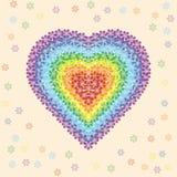 Regenbogenblumenherz Stockfotos