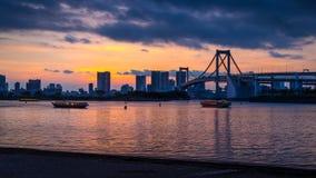 Regenbogenbrücke Sonnenuntergang Stockbild