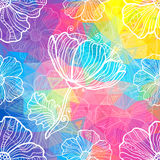 Regenbogendreiecke mit weißen Gekritzelblumen Stockbild