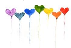 Regenbogenfarbe des Herzens steigt, Aquarellillustrator im Ballon auf Stockfotografie