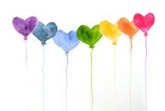 Regenbogenfarben von Ballonen auf Weiß, Aquarellmalerei Stockbild