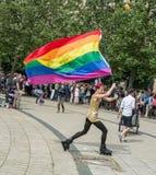 Regenbogenflagge auf Rollen Lizenzfreies Stockfoto