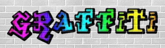 Regenbogengraffiti auf Wand Stockfotos