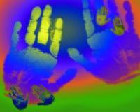 Regenbogenhände Stockfotografie