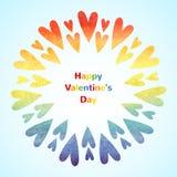 Regenbogenherzen, glückliche Valentinsgruß-Tageskarte Stockfoto