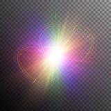 Regenbogenherzen mit Lichteffekten vektor abbildung