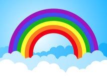 Regenbogenhimmel mit Wolkenkarikaturhintergrund lizenzfreie abbildung